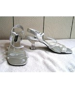 Silver And Transparent See Through Lucite Tango/Salsa  Dance Heels 7  - $16.88