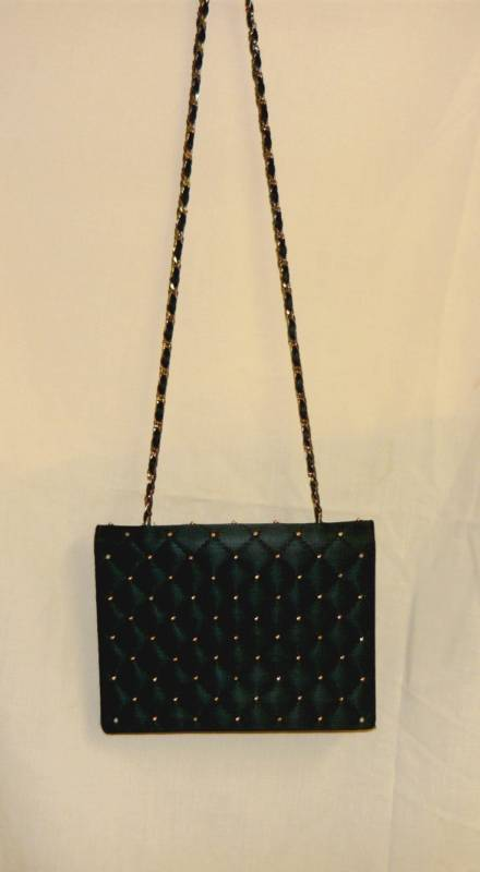 Black Silk Quilt w/Gold Beads- heavy Gold Chain strap Vintage shoulder Bag