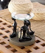 BLACK Stone-look figurines base tealight candle holder YOGA POSITION OIL... - $16.27