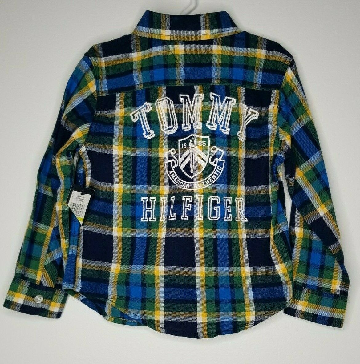 Primary image for TOMMY HILFIGER Boy's Spell Out Plaid Shirt Size 4 Long Sleeve NEW