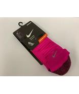NIKE Elite Running Pink No Show Tab Socks Womens 9.5-11,Mens 8-9.5 #211G - $14.84