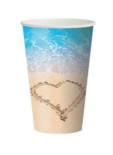 8 12 oz Cups Beach Love Wedding Bridal Shower Luau Party Heart Sand