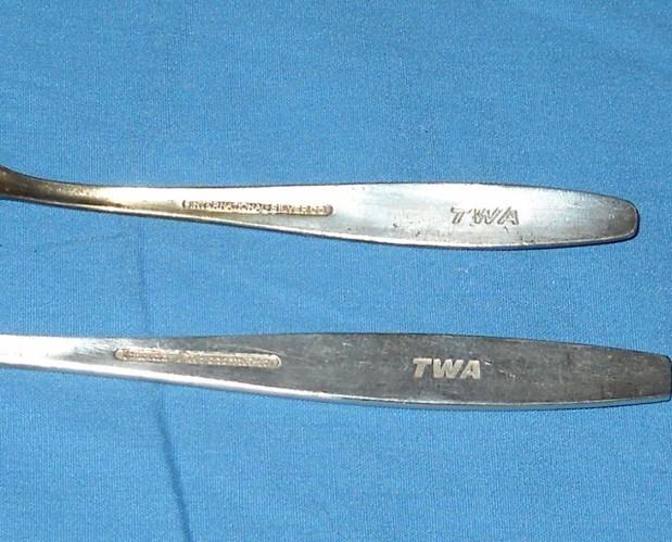 TWA Airlines Silverplate Knife Fork Spoon
