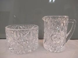 Vintage Crystal Creamer and Open Sugar Bowl Pinwheel Design Cut Glass - $17.34