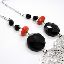 925 Silver Necklace, Agate Faceted Disc, Coral, Medallion, 80 cm image 5