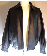Mens Leather Bomber Jacket Black St. Johns Bay with Zipout Lining Size M - $144.95