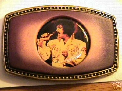 Elvis Belt Buckle Leather With His Picture on the Front