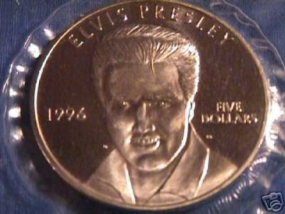 ELVIS $5 COMMEMORATIVE COIN 1996 ON CARD