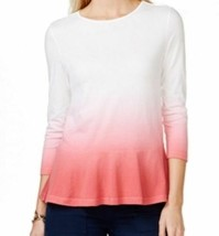 NWT AMERICAN LIVING Ralph Lauren Red White Ombre Peplum Knit Top Tee T-S... - $14.84