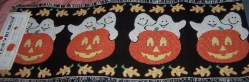 Halloween Jack O Lantern Ghosts Table Runner New 72""