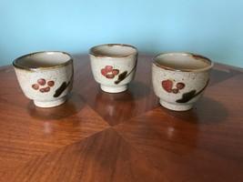 Vintage Japanese Speckled Stoneware Cups Bittersweet tea saki eeuc! - $23.76