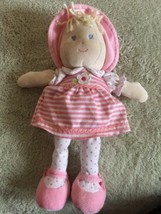 Prestige Baby Girls Pink White Fleece Yellow Yarn Hair Doll Stuffed Toy - $5.48