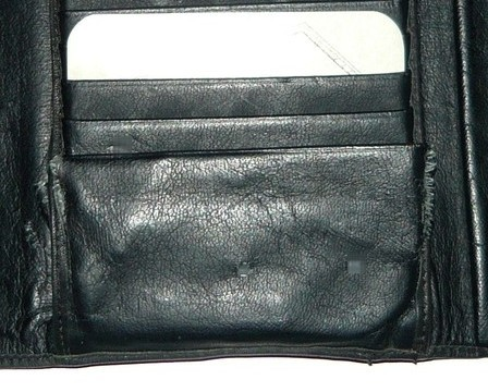 Cowhide Leather French Clasp Black Wallet