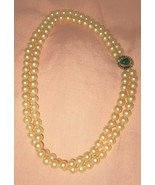 """VTG Ivory double strand faux pearl glass choker necklace 17"""" green gold ... - $29.69"""
