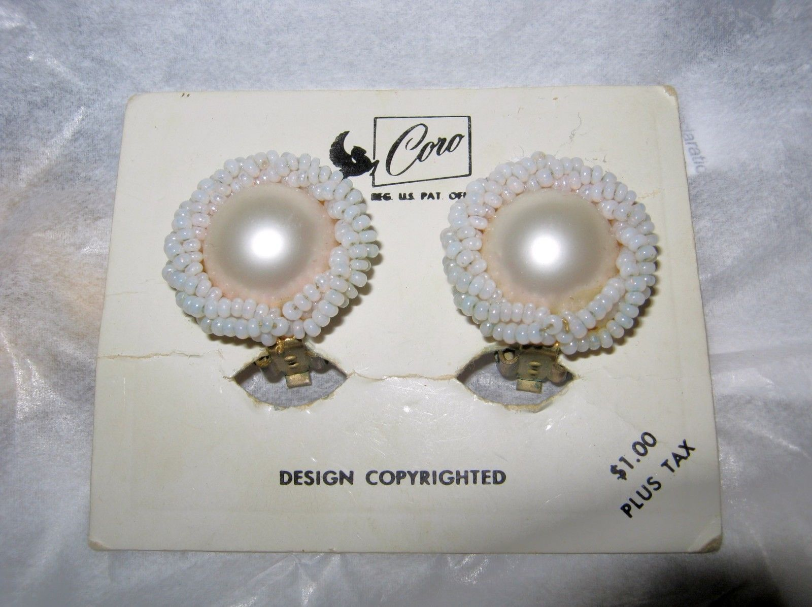 Primary image for VTG Coro faux pearl beaded round clip earrings on orginial card with price