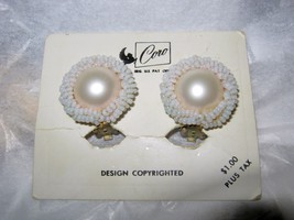 VTG Coro faux pearl beaded round clip earrings on orginial card with price - $24.74