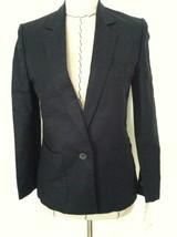 Vintage 80 women blazer black linen/cotton 1 button pocket XS S Petite W... - $35.90