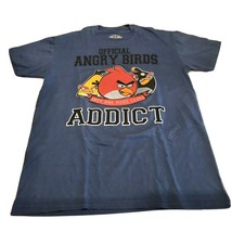 Official Angry Birds Addict Game Graphic Tee Shirt Men's Large Blue 100%... - $9.45