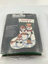 Bucilla Needlepoint Snowman Family Jiffi Stitch Vintage Incomplete Vintage - $46.74