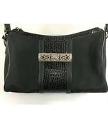 Brighton Black Microfiber Faux Croc Shoulder Bag Handbag w Heart Charm C... - $35.77