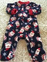 Child Of Mine Boys Navy Blue Red Santa Snowflakes Fleece Pajamas 0-3 Months - $5.48