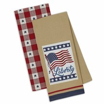 Liberty Dish Towels Set of 2 US Flag Stars Kitchen Tea Towel Patriotic R... - $19.79