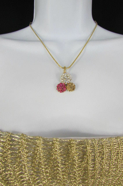 Damen Kurze Modische Halskette Metall 3 Bälle Silber Gold Strass Anhänger Bling image 5