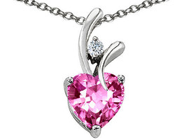 WOMENS BEAUTIFUL 7MM OR 9MM HEART SHAPE PINK SAPPHIRE PENDANT SOLID 14K ... - $25.82+