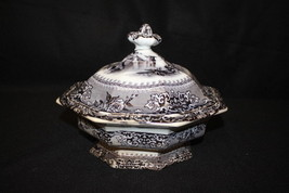 J. Clementson Ironstone COREA Mulberry Transferware Covered Vegetable Di... - $89.99