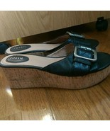 Fossil Slip On Wedges - Barely Worn - Size 9 - Black With Metal Buckle D... - $19.99