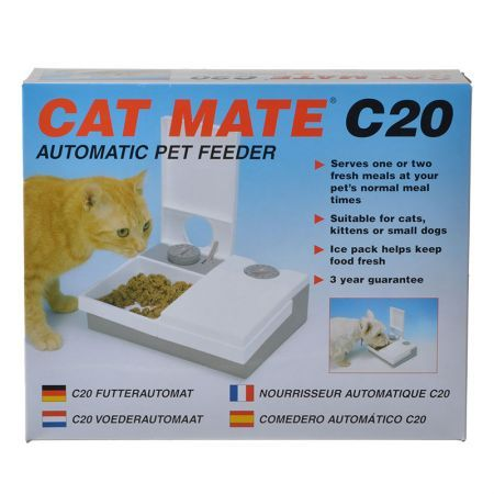 Cat mate automatic pet feeder 2 bowl 48 hour