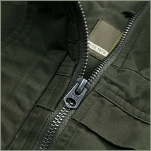 Army Green Cotton Denim Zip Up With Adjustable Drawstring Waist Vest Jacket   image 3
