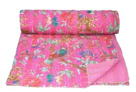 Pink Bird Print Kantha Quilt Indian Reversible Bedspread Bedding Throw B... - $53.87