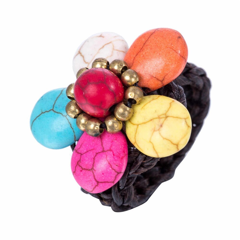 Bohemian Wax Rope Handmade Woven Band Stone Flower Charm Ring for Women Party We - $7.90