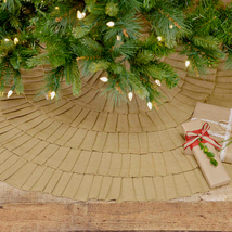 "Festive Natural Burlap/Red Ruffled tree skirt 48""  - $60.00"