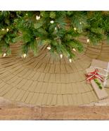 "Festive Natural Burlap/Red Ruffled tree skirt 48""  - $60.00"