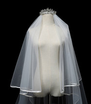 Cathedral Length Wedding Bridal Veil Full Edge Tulle White Veils Wedding Photo  image 7