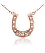 14K Rose Gold Diamond Lucky Horseshoe Necklace - $139.99+