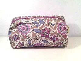 Estee Lauder Neutral Tan Multi Floral Pattern Makeup Cosmetics Bag - $10.00