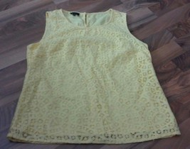 TALBOTS COTTON LACE Round Neck TANK TOP BRIGHT YELLOW SIZE 10 Petites Lined - $25.13