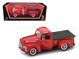 1948 Ford F-1 Pickup Truck with Bed Cover Red 1/18 Diecast Model Car by Road Sig - $65.79
