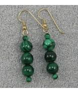 HANDCRAFT Gems Malachite beads GP. wire dangle earring - $9.99