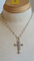 "17""SIGNED VCLM CLEAR QUARTZ GENUINE CRYSTAL RHINESTONE CROSS CHRISTIAN N... - $7.56"