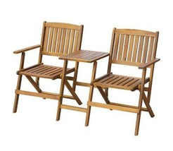 Outdoor Tea Table With Folding Bench Garden Wood Chair Seat Patio Acacia... - $116.95