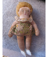 "VINTAGE DOLL  SMALL  5""  SHOES-DRESS-HAIR-PANTIES-SHOES-SEWN EYES NOSE &... - $2.99"