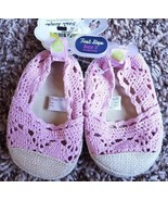 NWT Baby Girl's Size 3 First Steps Pink Crocheted Slip On Crib Shoes 6-9... - $16.00