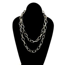 Vintage Crown Trifari Platinum Tone Double Strand Signed Chain Link Nec... - $25.68