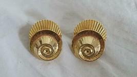 "1.25"" Vintage Goldtoneconch Sea Shel Design Stud Earrings, 3D, Pressed Tin, - $4.94"