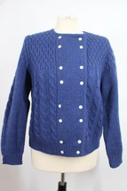 Vtg David Brooks S Blue 100% Wool Double Breasted Cable-Knit Cardigan Sw... - $36.10