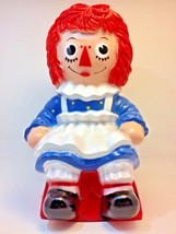 "vintage 1972 Raggedy Ann bank Bobbs Merrill Co Inc 11""  tall red white blue - $18.69"